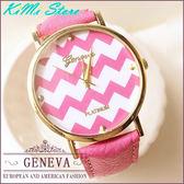 經典金框波紋皮革錶 GENEVA 日內瓦 簡約錶盤 輕甜時尚 男錶 女錶 對錶 【KIMI store】