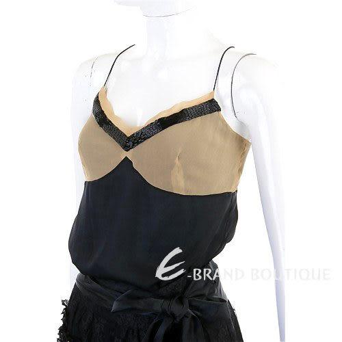 CHLOE' 黑/駝色拼接細肩帶背心 0520751-01
