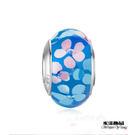藍色精品花纹琉璃珠 潘朵拉風DIY串珠手...