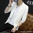 韓版修身男士七分袖西裝美發型師潮男個性西服男裝中袖小外套秋冬 美芭