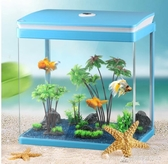 桌面長方形迷你生態玻璃水族箱客廳小型創意金魚缸辦公桌造景 交換禮物 YXS