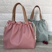 便當包新款素色防水飯盒包手提包可愛抽繩便當袋午餐包帶飯包飯盒手提袋 玩趣3C