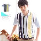 【大盤大】(P00671) 男 夏 直條紋POLO衫 短袖上衣 有領 翻領 休閒衫 口袋 透氣【2XL號斷貨】