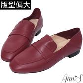 Ann'S會呼吸的舒適-小羊皮全真皮兩穿平底穆勒紳士鞋-酒紅
