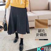 哈韓孕媽咪孕婦裝*【HB3562】正韓製.瑜珈腰孕婦褲.顯瘦拼接刷毛針織棉長裙