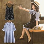 中大童裝女童夏裝連身裙  新款韓版洋氣公主裙子兒童夏季吊帶裙 范思蓮恩