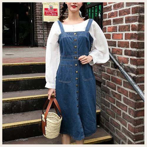 ✦Styleon✦正韓。修身排釦牛仔吊帶長裙吊帶洋裝。韓國連線。韓國空運。0425。