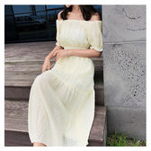短袖洋裝 素色 一字領 長裙 鬆緊腰 花邊 短袖 洋裝 連身裙【NDF5048】 icoca  06/28