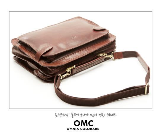 OMC - 真皮魅力款多層式硬挺公事包