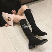 女式靴子 新款馬丁靴女英倫風過膝靴女長筒靴高筒靴騎士機車靴子女 俏腳丫