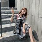VK精品服飾 韓國學院風海軍風領蝴蝶結針織寬鬆短袖洋裝