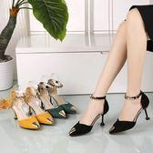 高跟涼鞋韓版2018夏新款貓跟中空尖頭鞋一字扣帶高跟鞋 ys2416『時尚玩家』