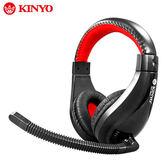 [哈GAME族]滿399免運費 可刷卡 耐嘉 KINYO EM-3631 立體聲耳麥 紅黑色 高質感 線控音量調整 伸縮式頭帶