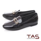 TAS一字金屬鍊飾釦漆皮樂福鞋–實搭黑
