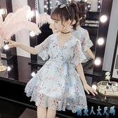 夏薄款超洋氣公主中大女童碎花喇叭袖9歲7小女孩兒童網紅雪紡連衣裙洋裝LXY2567【俏美人大尺碼】