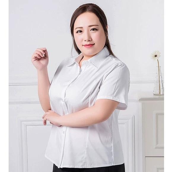 加大尺碼夏季短袖白襯衫加肥加大碼女士職業襯衣mm胖妹妹正韓正裝女裝