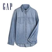 Gap女童 棉質舒適翻領牛仔襯衫 535853-藍色