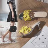 女夏季新款韓版百搭花朵透明高跟拖鞋時尚外穿露趾一字拖粗跟 DR16535【男人與流行】