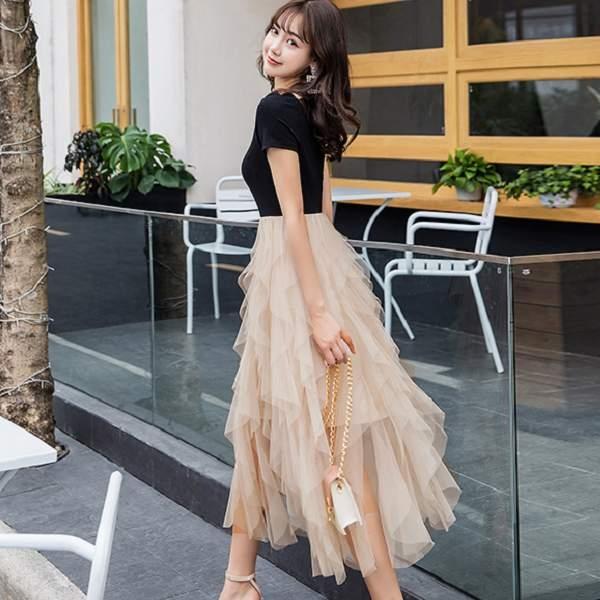 輕盈舞動法式花瓣領夢幻飄逸連身裙洋裝~謝師宴服飾/宴會/活動主持[98779-QF]美之札-森女系 洋裝