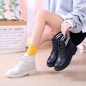 馬丁靴女2019秋季新款韓版百搭透氣襪靴小跟短靴皮靴網紅瘦瘦靴潮  極有家