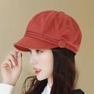 貝雷帽 21年春夏韓潮戶外棉質顯臉小時裝帽鴨舌帽貝雷帽格子顯臉小八角帽