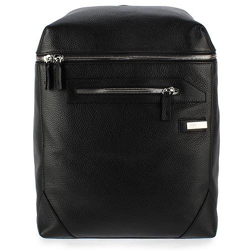 ARMANI COLLEZIONI荔枝紋皮革鐵牌LOGO後背包(黑色)102305