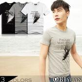 短袖上衣【L35103】OBI YUAN韓版漸層羽毛印花短袖T恤共3色