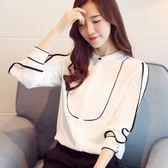 85折雪紡衫長袖襯衫 女 韓版顯瘦上衣 立領ol打底職業小衫 潮開學季