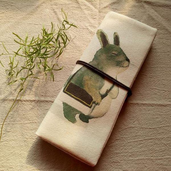 日式筆筆簾式筆袋 簡約帆布大容量筆袋卷簾筆袋森系文藝收納袋  蜜拉貝爾