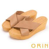 ORIN 簡約舒適 造型交叉牛皮舒適楔型拖鞋-可可