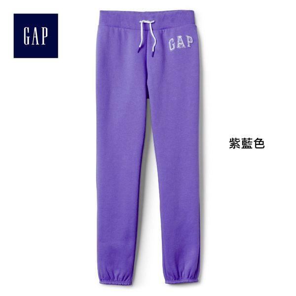Gap女童 logo刷毛中腰兒童運動褲 柔軟彈力長褲褲子 900897-紫藍色
