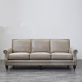 美式沙發頭層牛皮三人客廳組合家具復古油蠟皮復古皮藝沙發 聖誕節免運