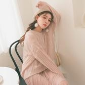 MUMU【T79025】慵懶麻花針織毛衣。杏/粉