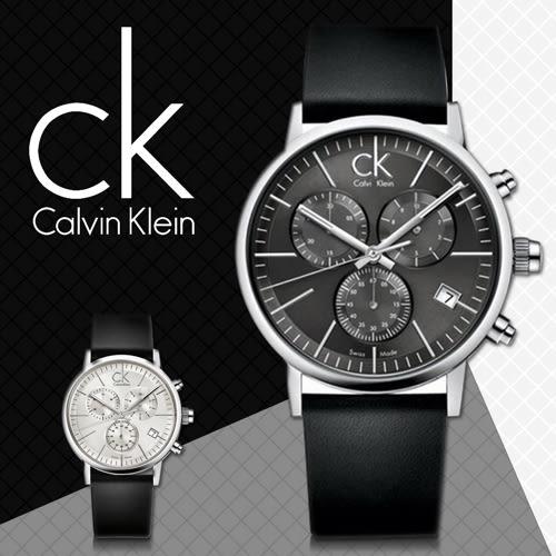 CK 手錶專賣店 K7627107黑 男錶 三眼 石英 礦物耐磨玻璃 可鎖式龍頭 穿扣式牛皮錶帶