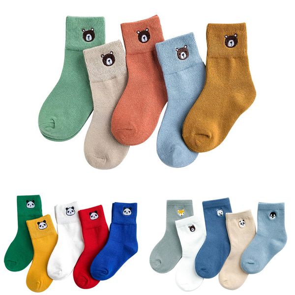兒童襪子 五雙入 可愛動物刺繡頭童襪 純棉 男童襪 女童襪 透氣 襪子88263