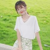 蕾絲上衣 帛卡琪2020新款拼接蕾絲雪紡衫夏季仙女白色V領短袖襯衫洋氣上衣 寶貝計書