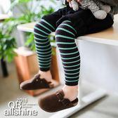 女童褲襪 男童褲襪 細條紋拼接色內搭九分褲襪 QB allshine