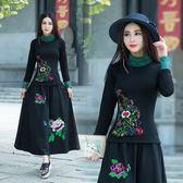 民族風上衣 秋冬新款女裝修身高領刺繡打底衫中國風大尺碼上衣 JA3497『毛菇小象』