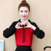 大尺碼女裝長袖上衣假兩件娃娃領襯衫胖MM職業風雪紡打底衫 EY9560『紅袖伊人』