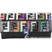 FENDI Rainbow Stud 多彩F立體浮雕小牛皮釦式長夾(黑色) 1820334-01