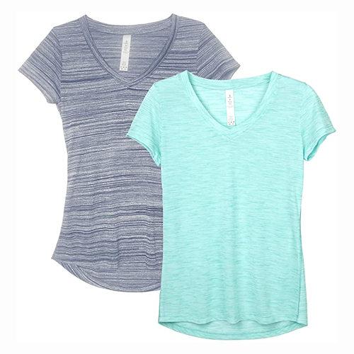 女時尚V領運動T恤2件組(靜藍/冰綠色)