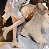 粗跟方頭短靴女中跟年冬季新款韓版百搭后拉鏈馬丁靴絨面靴子 雙十二全館免運