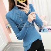 針織衫 秋裝新款半高領毛衣韓版套頭針織衫彈力修身純色紐扣打底衫