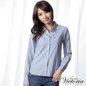 Victoria 條紋剪接基本型長袖襯衫-女