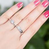 雙十二狂歡 情侶戒指一對925銀男女活口結婚對戒仿真鉆戒簡約開口刻字禮物夢想巴士
