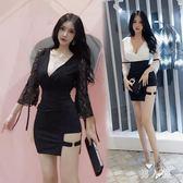 夜店洋裝酒吧女裝新款女性感深V領低胸蕾絲打底修身包臀裙 zm11549『男人範』