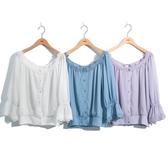 單一優惠價[H2O]後面造型綁帶六分袖雪紡上衣 - 白/淺藍/淺紫色 #0685013