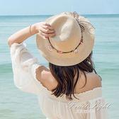 草帽女海邊出游夏天涼帽太陽帽女士百搭遮臉防曬遮陽帽沙灘帽 果果輕時尚