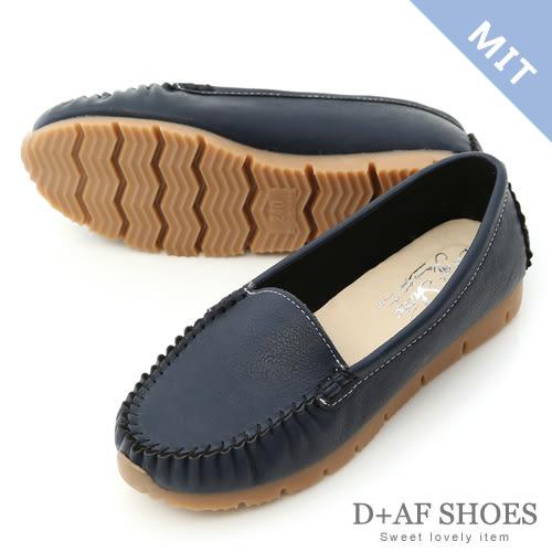 豆豆鞋 D+AF 舒適加倍.MIT素面莫卡辛健走鞋*黃