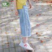 女大童棉直筒牛仔褲夏新品九分薄款闊腿褲子